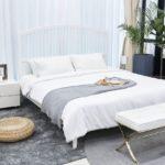 łóżko białe z drewna belluno elegante
